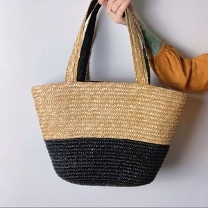 NEIMAN MARCUS Straw Two-Tone Tote Bag